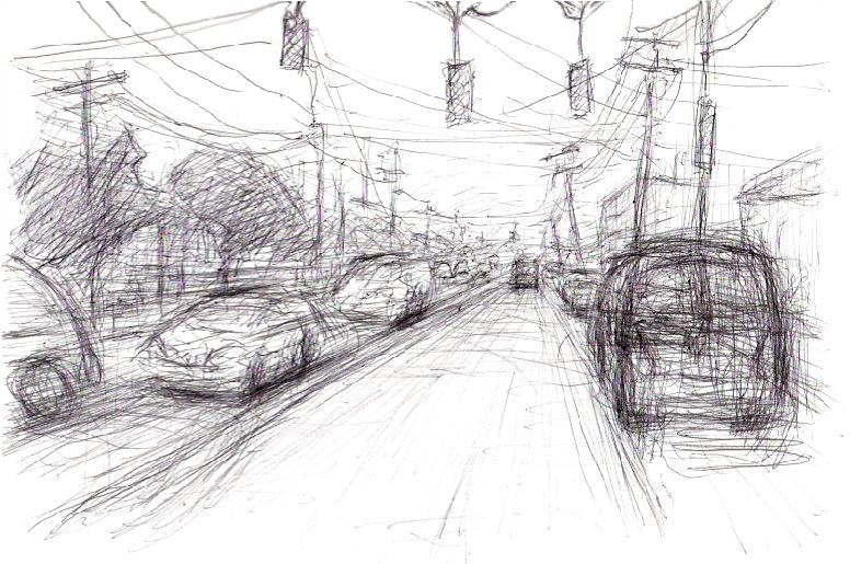 Here's another drawing of traffic on the streets of Long Island.